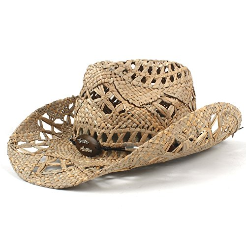 2018 New! 100% Natural Jazz Straw Cowboy Hat Women Men Handwork Weave Cowboy Hats for Lady Dad (Color : Black, Size : 56-58CM)