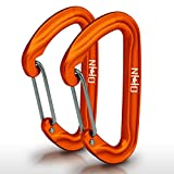 Nature's Hangout HangTight Wiregate Carabiner (Set of 2) - Mini Aluminum Lightweight Biners - Best for Hammock Suspension, Clipping On Camping Accessories, Keychains, and More. Anodized Orange
