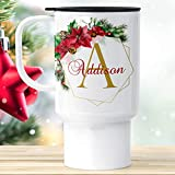 Christmas Travel Mug with Lid | Personalized with Name and Initial | Poinsettia Wreath Monogram Cup with Pine Cone | Custom Xmas Tumbler -  Foxy Mug