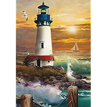 "Christmas Lighthouse Nautical Garden Flag Wreath 12.5/""x 18/"" Briarwood Lane"