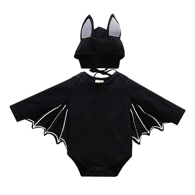 ... Bat Sleeve Romper + Cartoon Ear Hat NiñO ReciéN Nacido Baby Boy Girl Halloween Cosplay Traje Jumpsuit Hat Costume Negro: Amazon.es: Ropa y accesorios