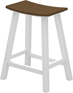 product image for POLYWOOD 2011-FWHTE Contempo Counter Height Saddle Seat Barstool, White Frame, Teak