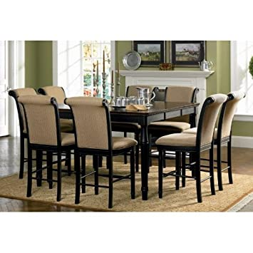 9pc Counter Height Dining Table U0026 Stools Set Cappuccino Finish