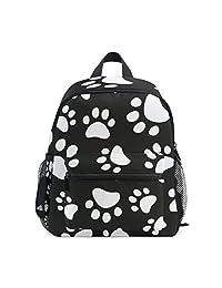 Mini Kids Backpack Daypack Paw Footprints of Dog Cat Black and White Pre-School  Kindergarten 7e3f592fe8