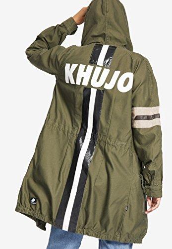 Larga Oliva Básico para Khujo Abrigo Verde Manga Blusa Mujer qfwCSxTZ
