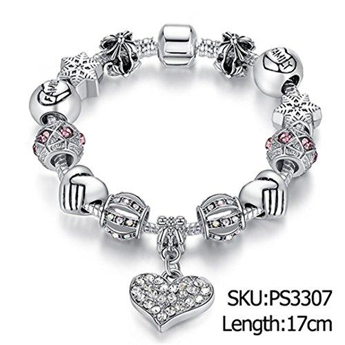 Moving Bracelet Diamonds - 925 Unique Silver Crystal Charm Bracelet For Women Diy Beads Bracelets & Bangles Jewelry Gift 17cm PS3307