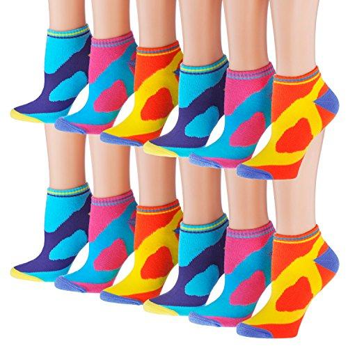 Tipi Toe Women's 12-Pack No Show Athletic Socks, Sock Size 9-11 Fits Shoe 6-9, SP11-12