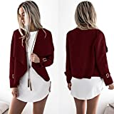 Gotd Womens Wool Solid Long Sleeve Casual Cardigan ackets Outwear Tops (M, Red)