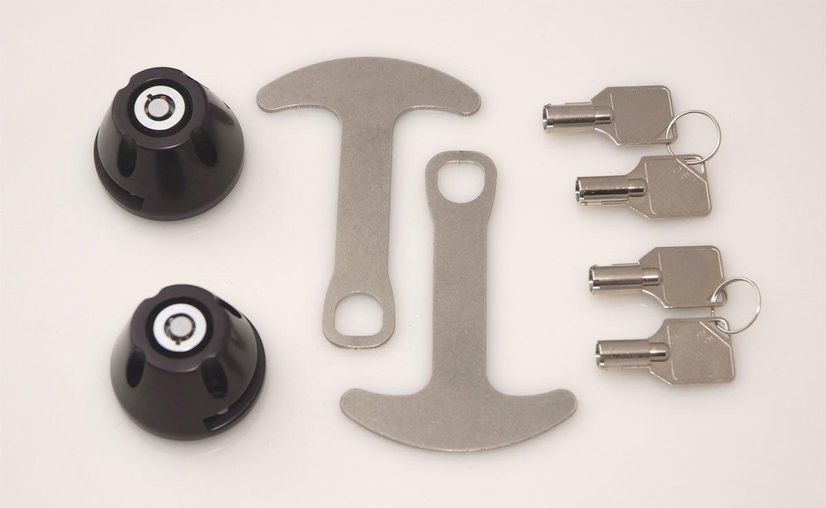 Lidlox 1032-B - Bar End Helmet Lock Pair for Kuryakyn ISO and Kinetic Grips, Black.