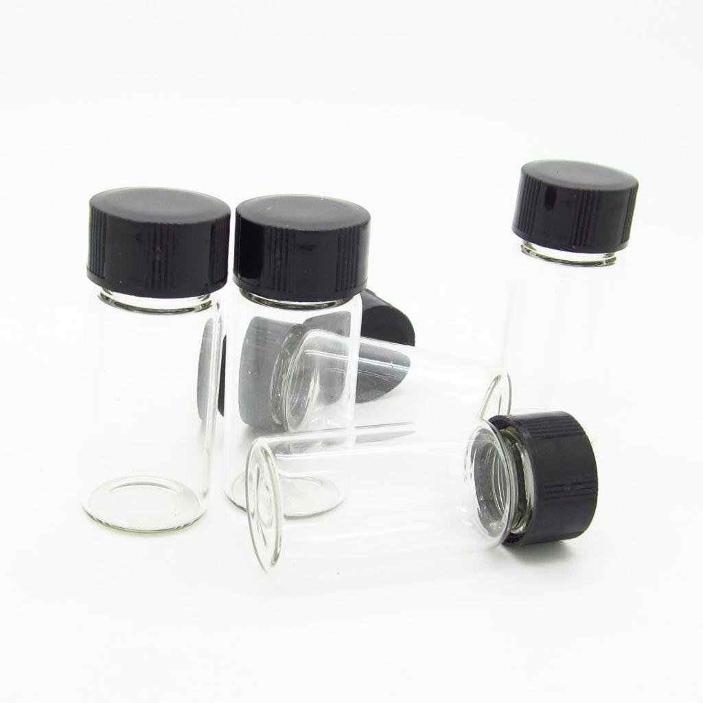 JIUWU Clear Liquid Sampling Sample Glass Bottles Vials Screwcap Capacity 10ml (0.3 Oz) Pack of 50 by JIUWU