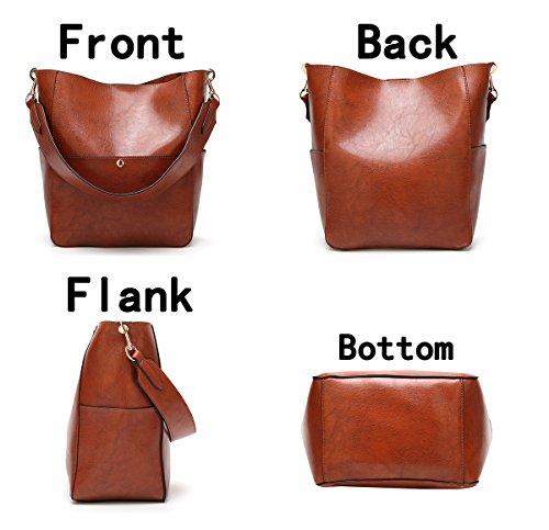 Molodo Womens Satchel Hobo Stylish Top Handle Tote PU Leather Handbag Shoulder Purse by Molodo (Image #3)