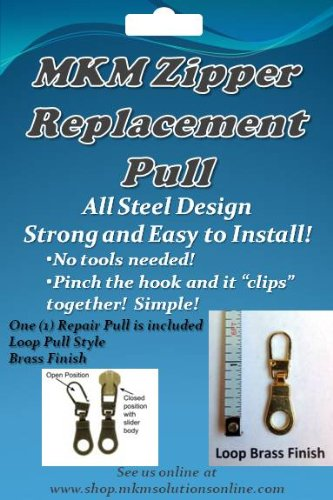MKM Zipper Replacement Pull - (1) Loop Gold Finish Pull Zipper Fixer - Gold Zipper Pull