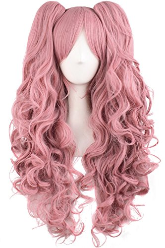 TSNOMORE Long Curly Lolita Cosplay Wig + 2 Clip on Pigtail Ponytail wig -
