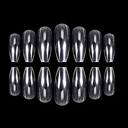 (ECBASKET 500PCS Coffin Nails Clear Ballerina Nail Tips Perfect Length Acrylic Nails Full Cover False Artificial Nails 10 Sizes For Nail Salons or DIY Nail Art At Home)