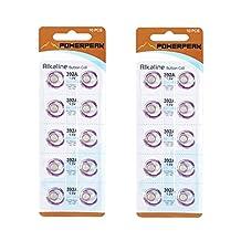 PowerPeak Alkaline Button Cell Battery 1.5V, LR41 / 392 / G3 / 192 (2 Pack)