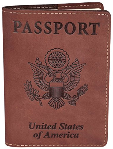 NapaWalli Leather Passport Holder Wallet Cover Case RFID Blocking Travel Wallet (brown)