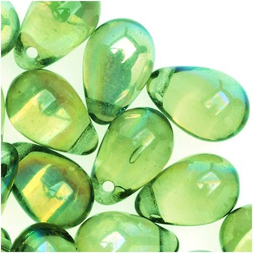 Jablonex Teardrop Peridot Green Czech Glass Beads (50 Pack), 9mm