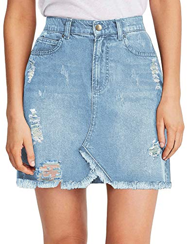 Luyeess Women's Ladies Girls' Casual Denim Short Skirt High Waist Stretchy Ripped Distressed Tulip Jean Mini Skirt Light Blue, Size XL(US 16-18)