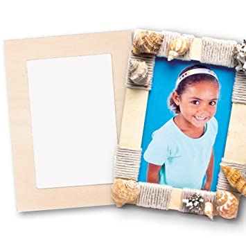 Baker Ross Wooden Photo Frames (Pack Of 4) For Kids Arts and Crafts ...