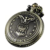 VIGOROSO UNITED STATES AIR FORCE Vintage Retro Bronze Steampunk Pocket Watch Chain