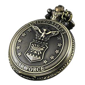 VIGOROSO Vintage Retro Pocket Watch UNITED STATES AIR FORCE Style Bronze Steampunk Chain in Gift Box