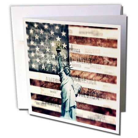 3dRose Vintage Patriotic American Liberty - Statue of Liberty with American Flag - Greeting Card, 6