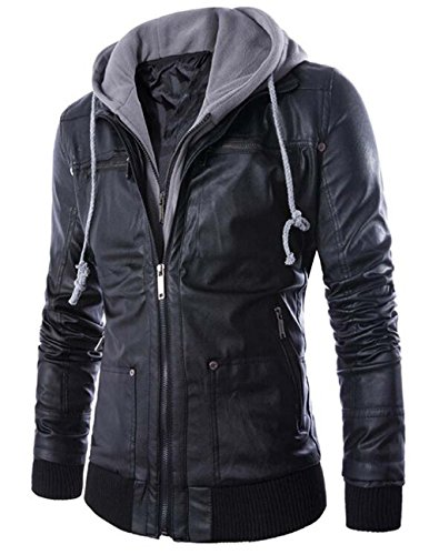 Naughtyman Men's Fitted Hoodie Faux Leather Jackets Coat (X-Large, Black)