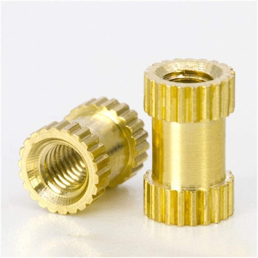 SLZC 100pcs//lot M2 M2.5 M3 Copper Inserts Brass Double Pass Knurl Nut Fastener Spacing Nuts Size : M3 6 4mm