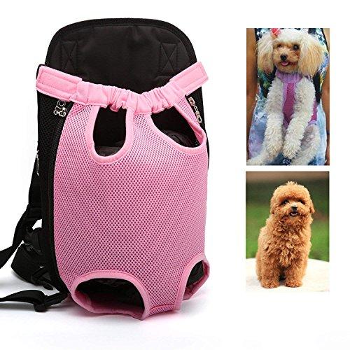 - LEMONPET Dog Front Carrier Bag Adjustable, Legs Out, Pet Cat Dog Carrier Backpack for Walking, Traveling, Hiking, Camping, Bike and Motorcycle (Large, Pink)
