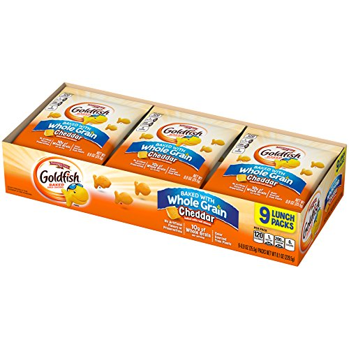 Pepperidge Farm Goldfish Crackers, Baked with Whole Grain Cheddar, 0.9 ounce packs, 9 count (Pack of 12)