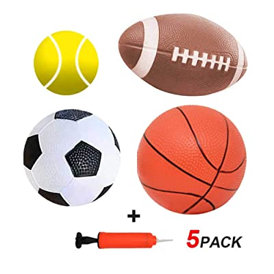 HongMe Set of 4 Soft Sports Balls with Air Pump for Kids & Toddlers - Soccer Ball & Basketball & Football & Tennis Ball: Toys & Games