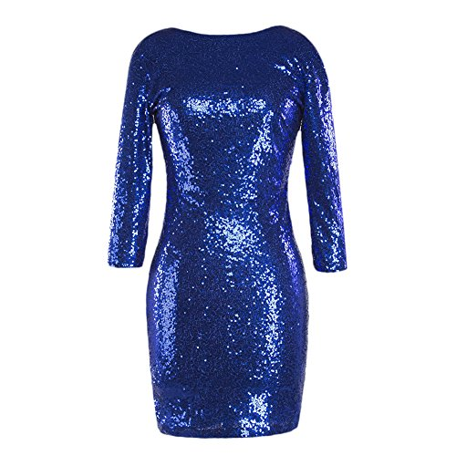 Women's 3/4 Sleeve Sparkle Glitter Sequin Bodycon Dress Evening Night Club Flapper Party Cocktail Mini -