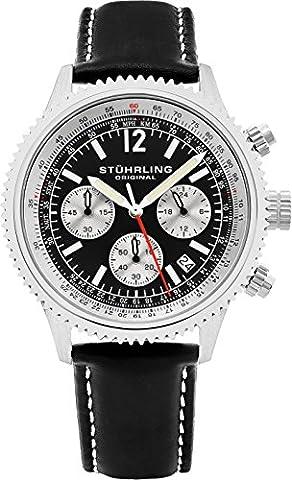 Stuhrling Original Men's 669.01 Monaco Quartz Chronograph Date Black Dial Leather Watch - Chronograph Synthetic Sapphire