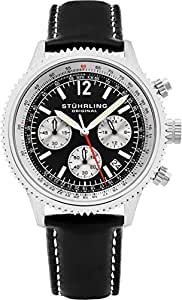 Stuhrling Original Men's 669.01 Monaco Quartz Chronograph Date Black Dial Leather Watch