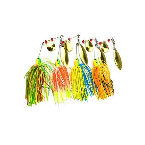 Buzzbait Hard Spinner lure Spinnerbait Mix colors Bait Fishing lures (Style-4pcs) Bass Spinner