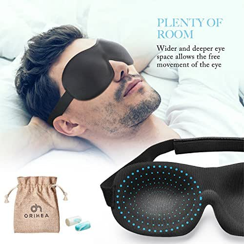 OriHea Eye Mask for Sleeping, Sleep Mask for Men and Women, Patented Design 100% Blackout Sleep Mask Comfortable Eye Mask Blindfold, Black