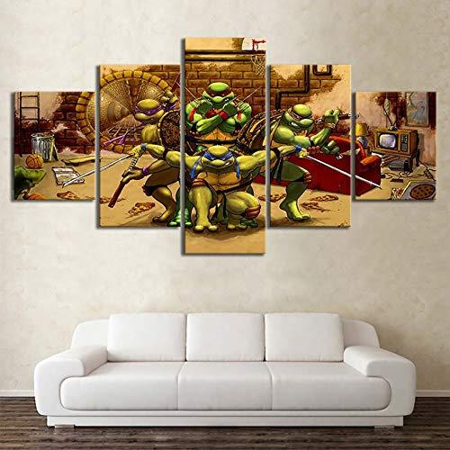kkxdp Frameless Wall Art Poster Pictures 5 Piece Teenage Mutant Ninja Turtles Painting Canvas Printed Home Decor Living Room Modular Framework-A -