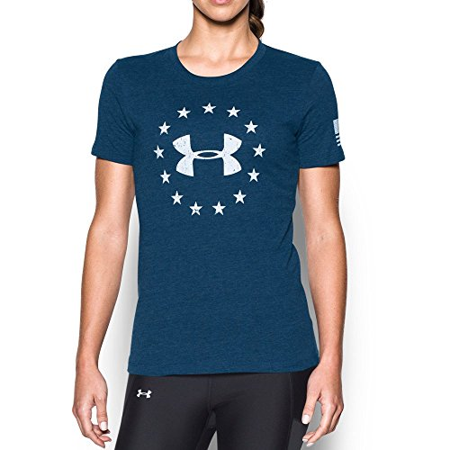 Under Armour Women's Freedom Logo Short Sleeve, Blackout Navy/White, X-Large