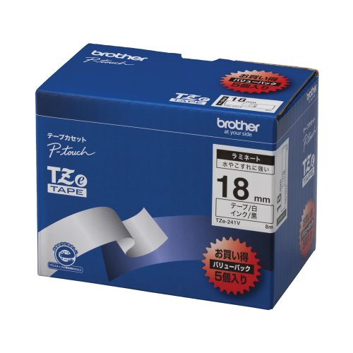 Brother TZe tape laminate tape (white / black) 18mm 5 pack of TZe-241V (japan import)