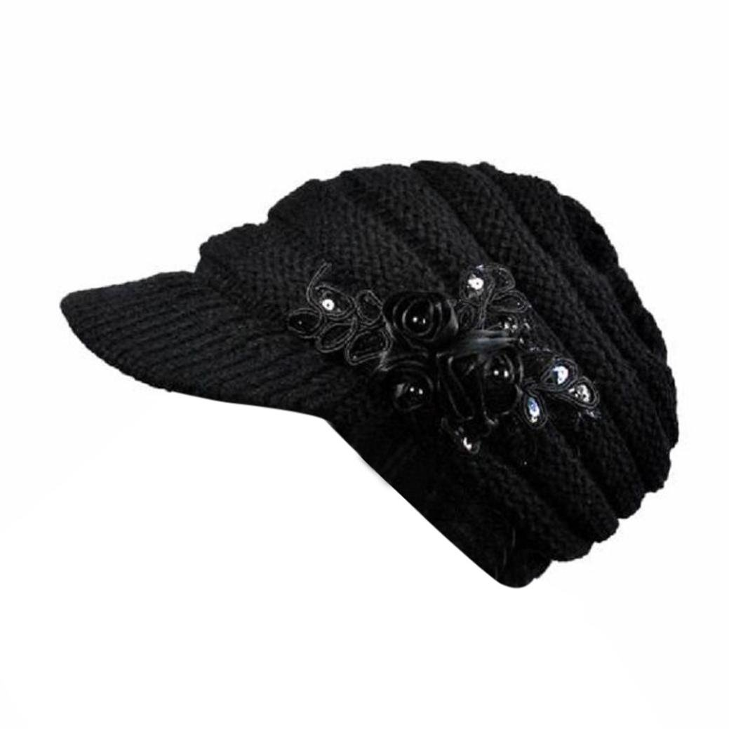 AutumnFall Womens Lady s Winter Cable Knit Visor Hat With Flower Accent  (Black) at Amazon Women s Clothing store  bceb7a24103