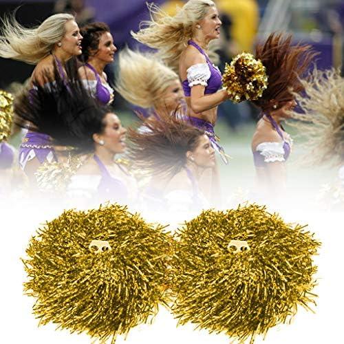 AUHOTA 2 St/ück Kunststoff Cheerleading Pom Poms mit Taktstock Griff Cheerleader Pompons Handblumen zum Sport Cheers Ball Dance Kost/üm Nacht Party Team Spirit 6 Zoll