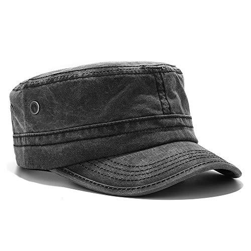 Men's Twill Cotton Peaked Baseball Cap Cadet Army Cap Military Corps Hat Cap Visor Flat Top Adjustable Baseball Hat