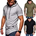 TRENTON Men T-Shirts, Solid Color Pleated Short Sleeve Summer Casual T-Shirt Hoodies Hooded Tops
