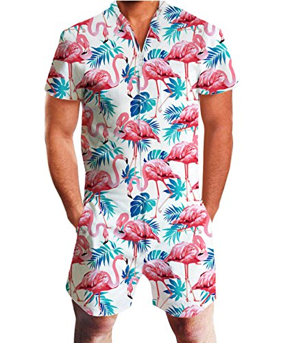 Idgreatim Men Flamingos Shorts Romper Short Sleeve Elastic Waist Playsuit Jumpsuit Rompers