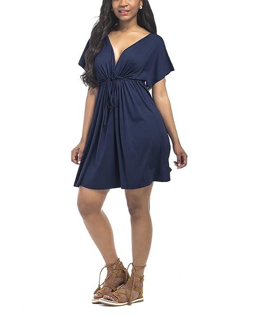 Mujer Tallas Grandes Cuello en V Vestidos Manga Corta Fruncido Plisado Cintura Alta Swing Vestido Azul