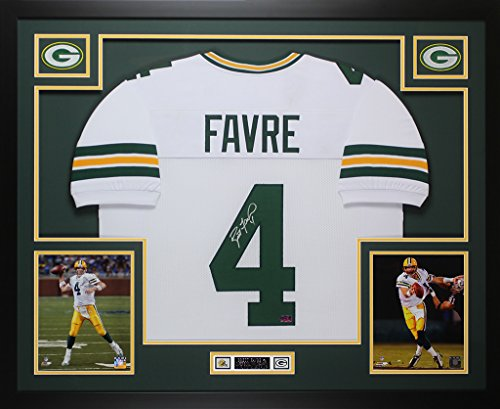 Hand Signed Green - Brett Favre Autographed White Green Bay Packers Jersey - Beautifully Matted and Framed - Hand Signed By Brett Favre and Certified Authentic by Auto Favre COA - Includes Certificate of Authenticity