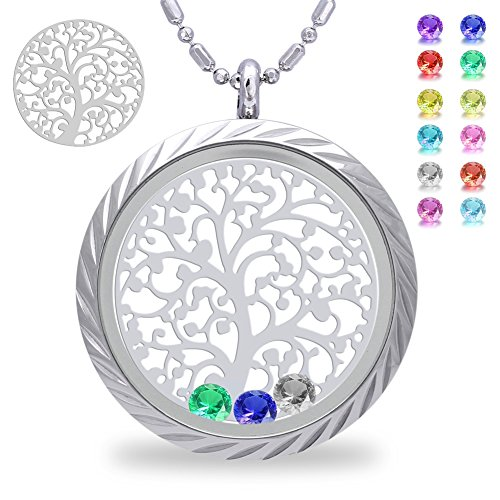 Tree of Life with Birthstone Crystal Screw Floating Charm Living Memory Locket, Mother in Law Necklace, Mothers Day Gifts, Gifts for Mom, Grandma, Daughter, Son, Birthday Stainless Steel Necklace (Charm Necklace Long)