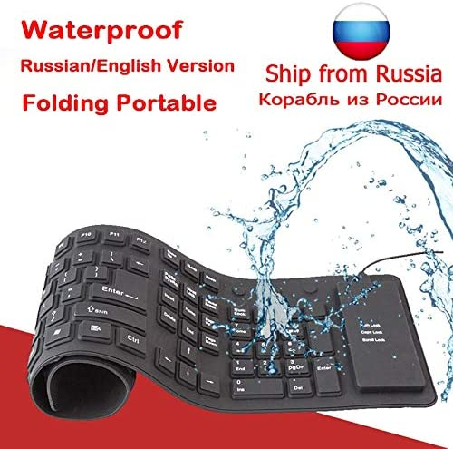 Color: English Calvas 109 keys Russian English Wire USB Interface Silica Flexible Keyboard For Tablet//Laptop//PC//Desktop Portable Gaming Keyboard