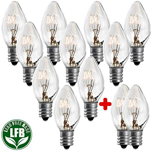 7 Watt Night Light Replacement Bulbs - 10 Pack + 2 Free, Salt Lamps & NightLight Replacement Bulb, Flea Traps, Electric Window Candle Bulb, Night Lamps & Chandeliers. Incandescent E12 Socket C7