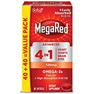 MegaRed Advanced 4in1 500mg, 80 softgels - Concentrated Omega-3 Fish & Krill Oil Supplement
